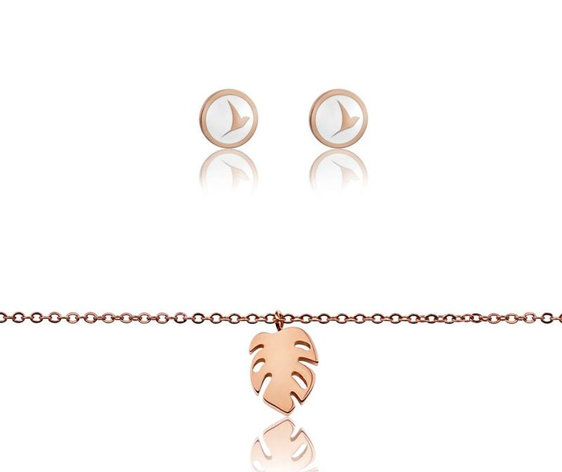 Set bratara si cercei Rose Gold Leaf and Bird Motive
