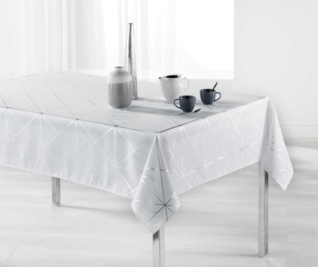 Quadris White and Silver Asztalterítő 150x300 cm