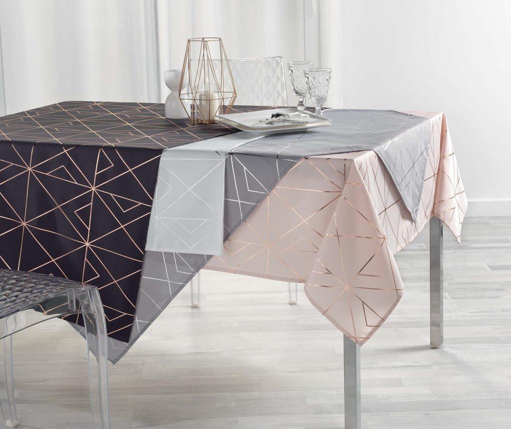 Quadris Grey and Silver Asztalterítő 150x300 cm