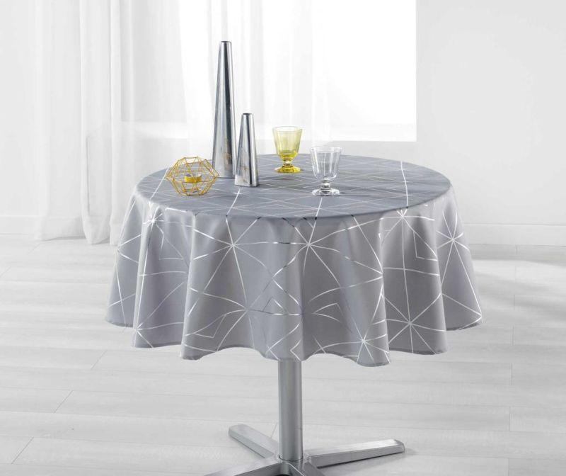 Fata de masa Quadris Round Grey and Silver 180 cm