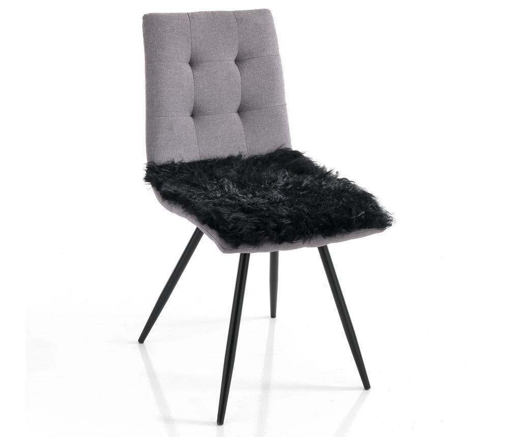 Подложка за седалка Fur Black 40x40 см