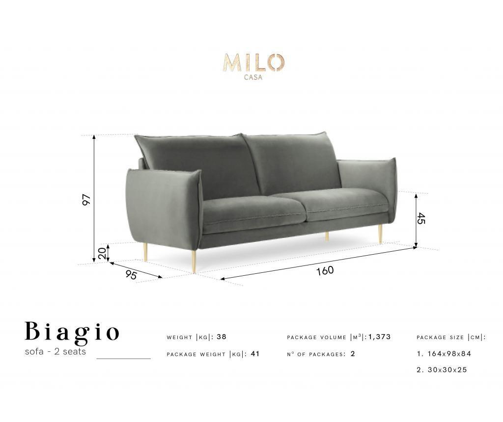 Sofa cu 2 locuri Biagio Dark Blue