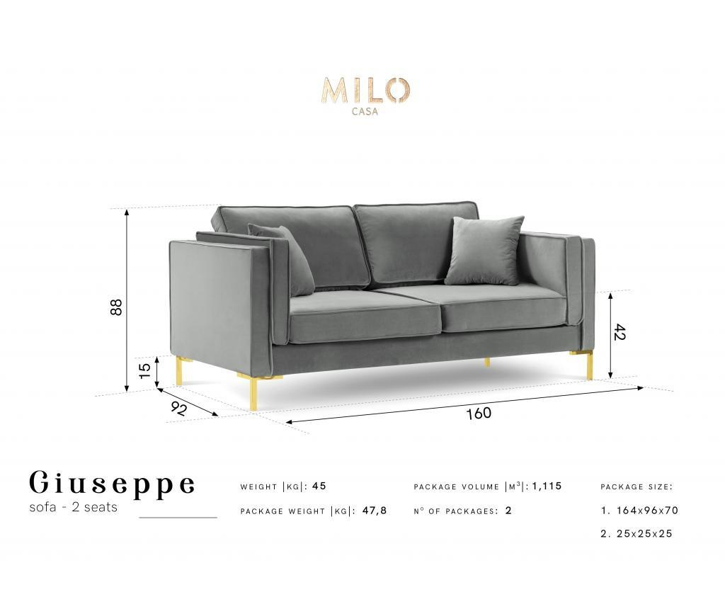 Sofa cu 2 locuri Giuseppe Light Grey