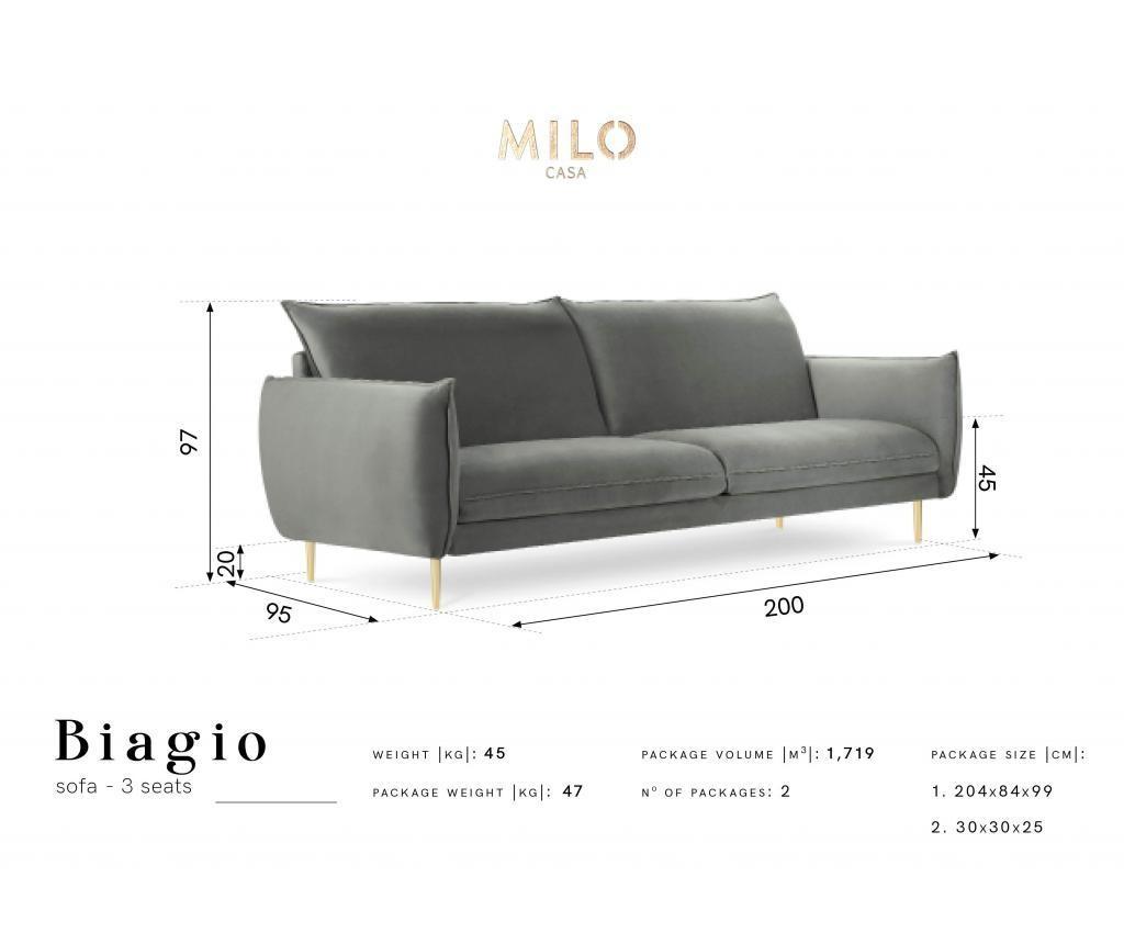 Sofa cu 3 locuri Biagio Petrol