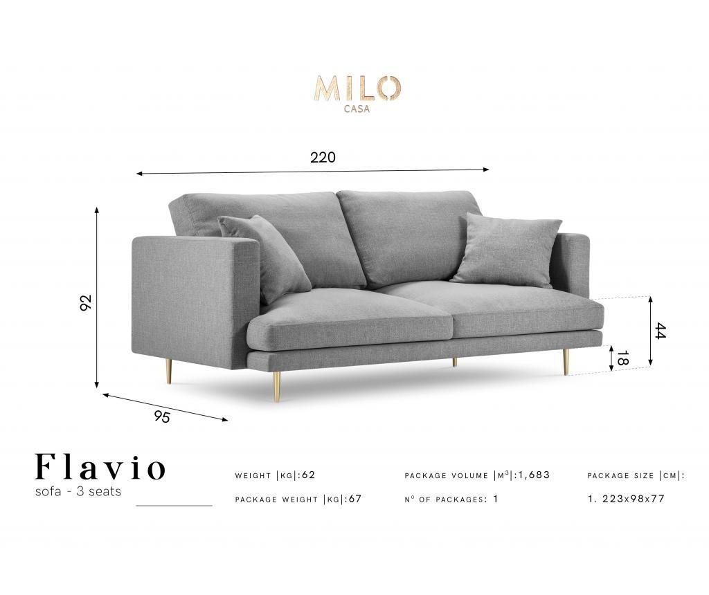Sofa cu 3 locuri Flavio Bottle Green