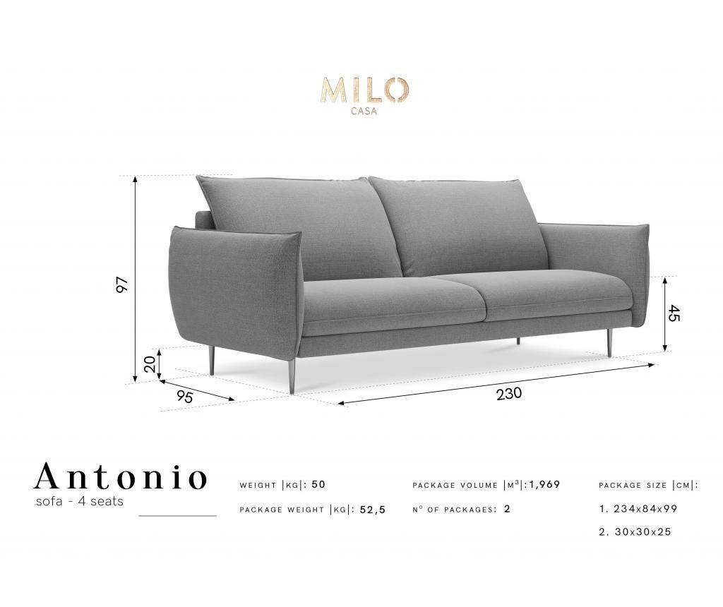 Sofa cu 4 locuri Antonio Grey