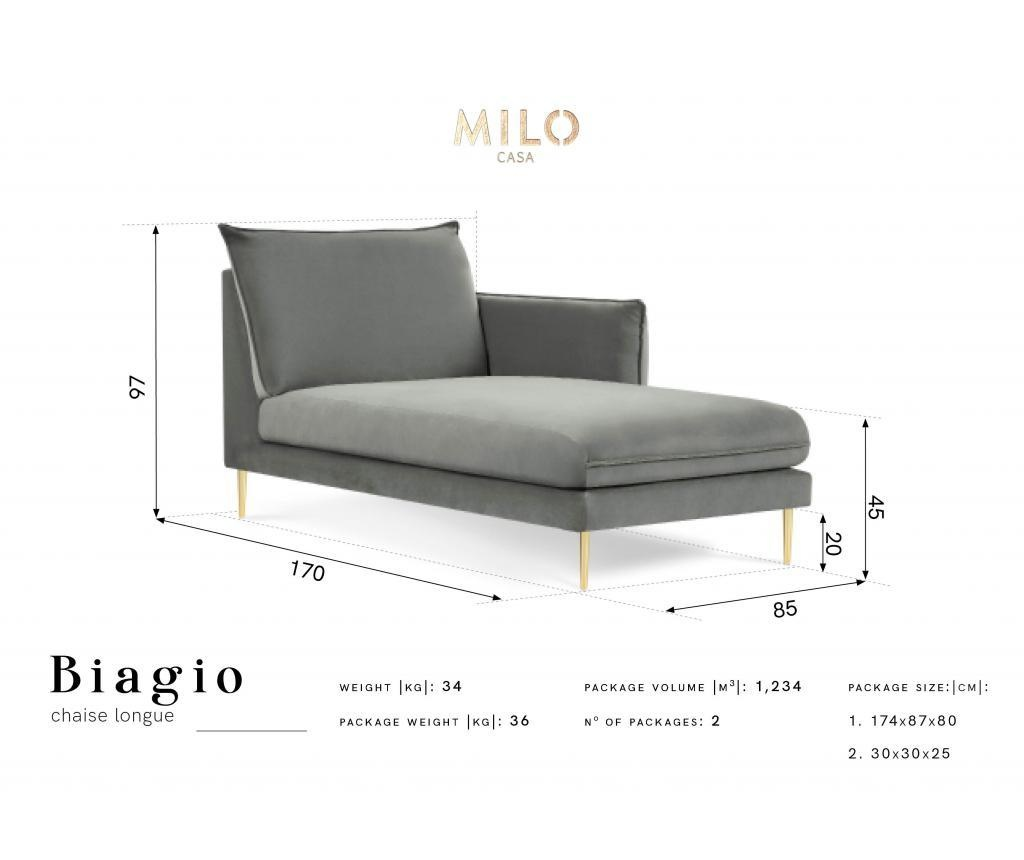 Sezlong living Biagio Grey