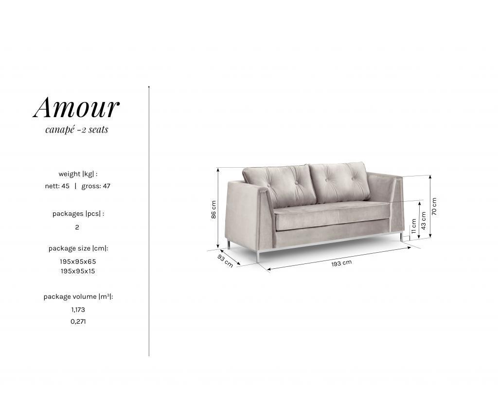 Canapea 2 locuri Amour Beige