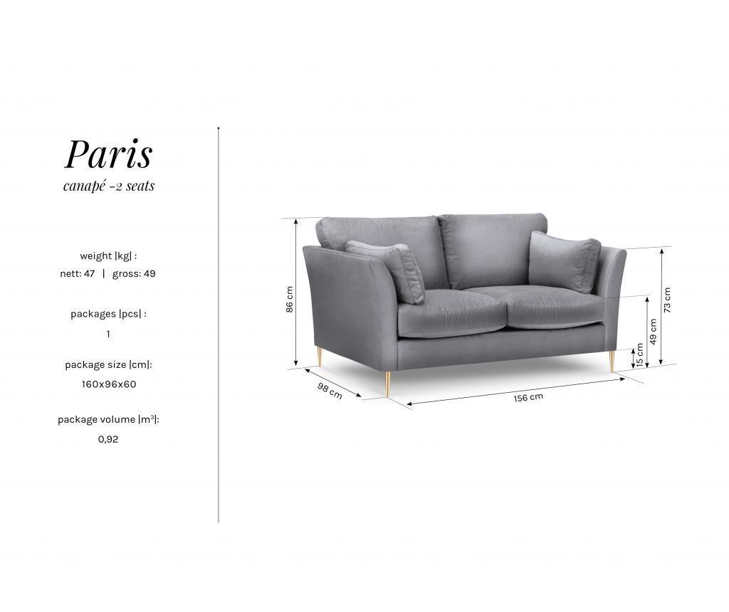 Canapea 2 locuri Paris Grey