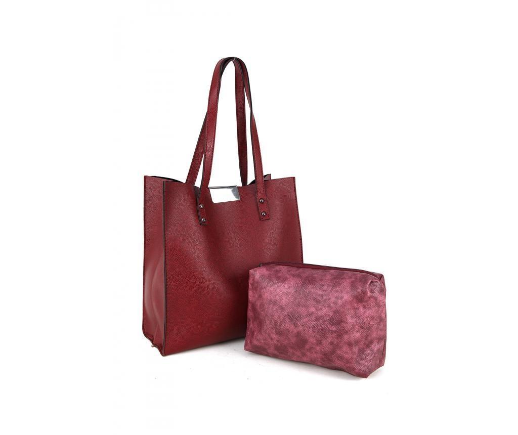 Комплект чанта и козметична чанта Polonation Maroon