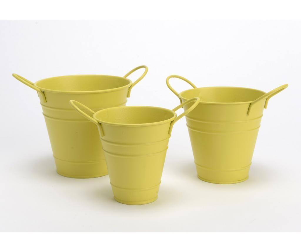Set 3 posude za cvijeće Bucket Yellow
