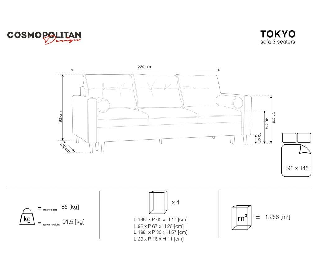 Kauč trosjed na razvlačenje Tokyo Cream