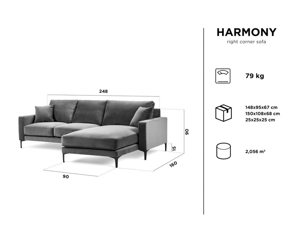 Desna kutna garitura Harmony Light Grey