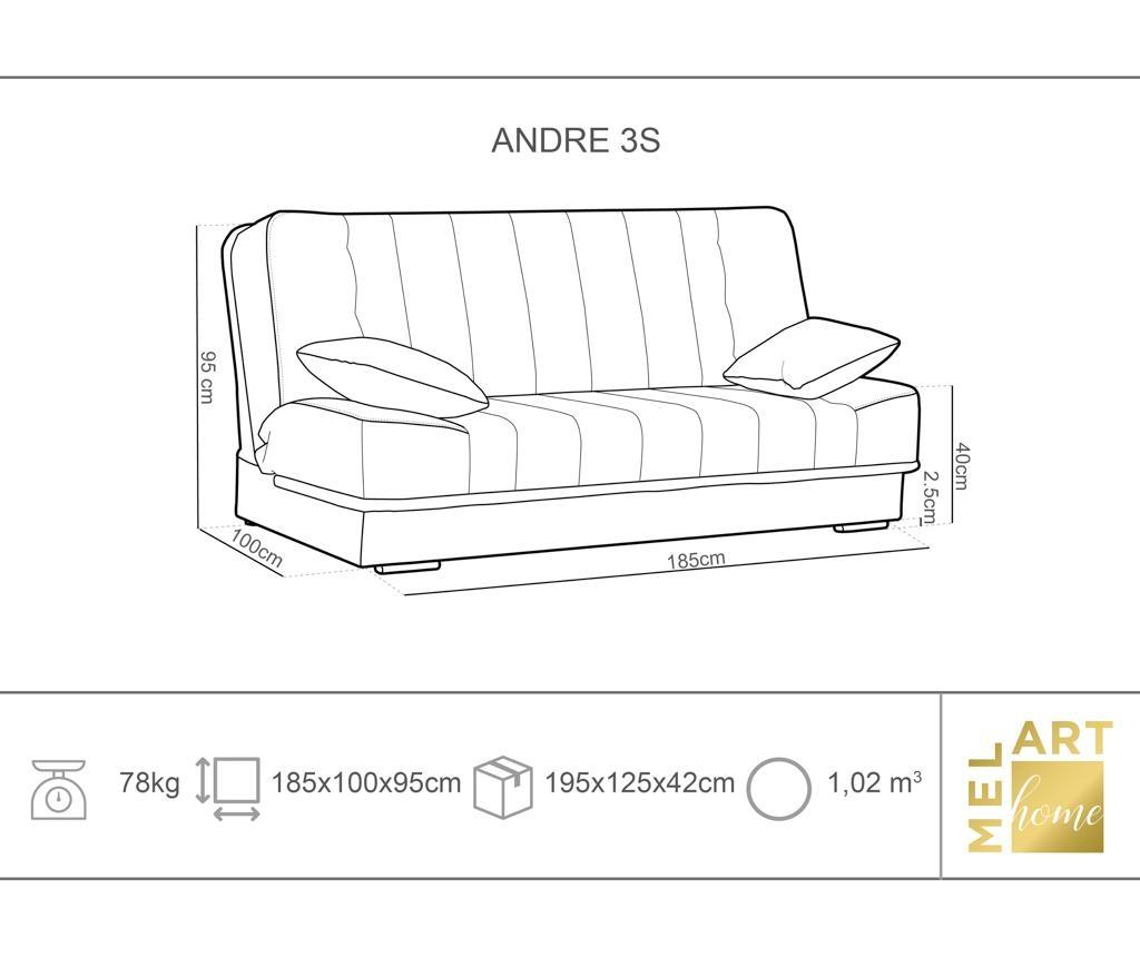 Kauč trosjed na razvlačenje Andre Grey