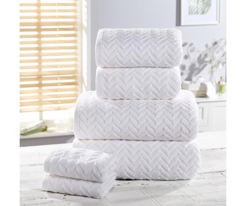 Set 6 kupaonska ručnika Herringbone White