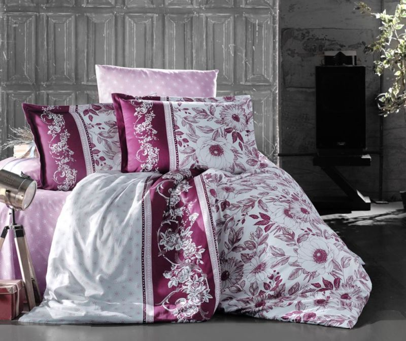 Set posteljina King Satin Supreme Mocha Bordeaux