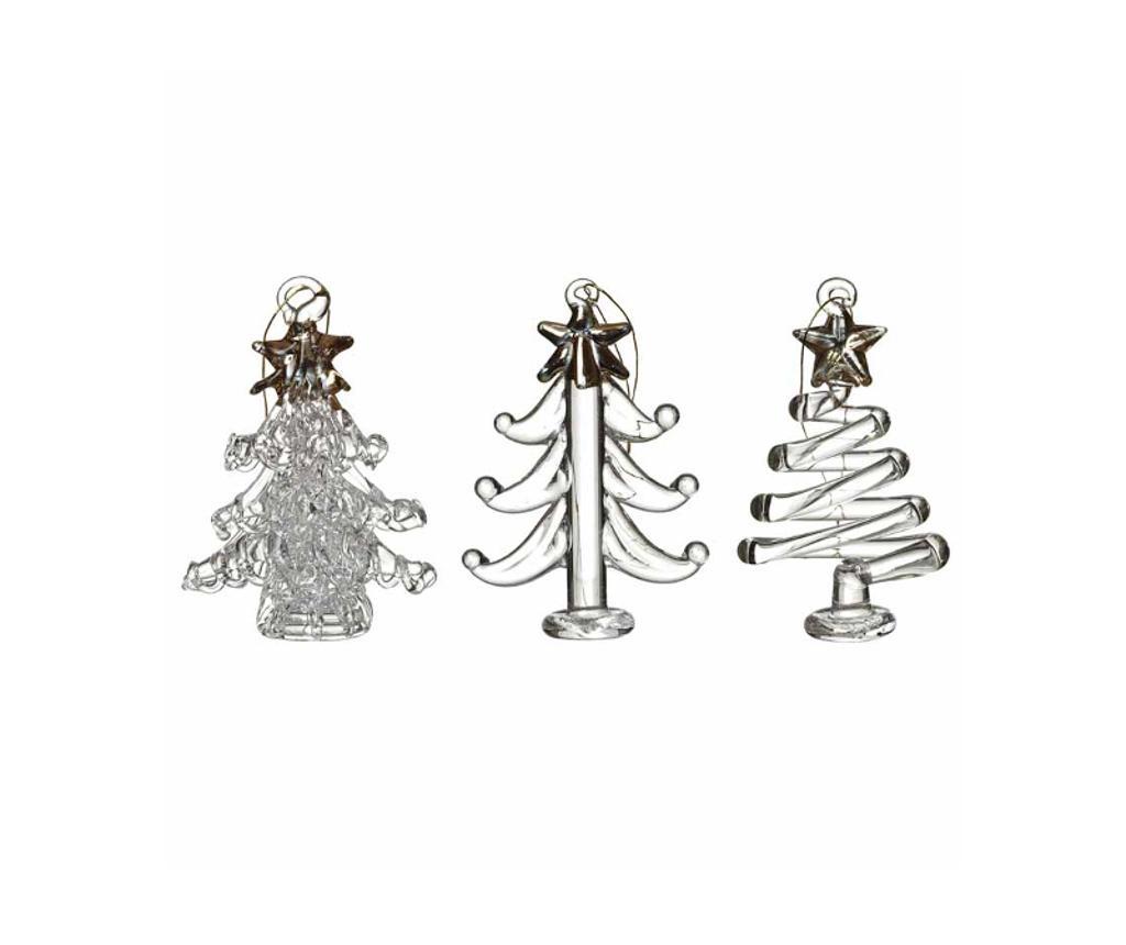 Set 3 viseća ukrasa Christmas Trees