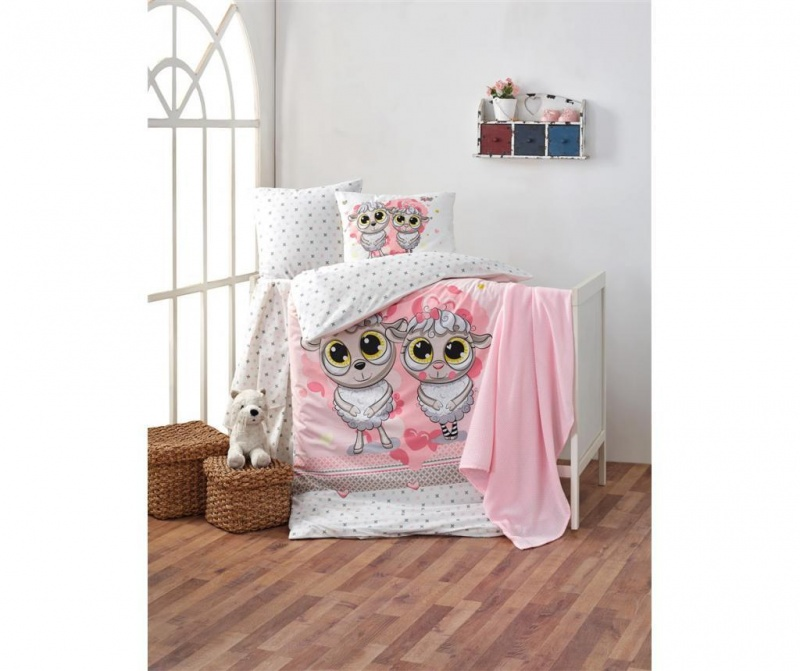 Posteljnina za otroško posteljico Happy Lambs Pink