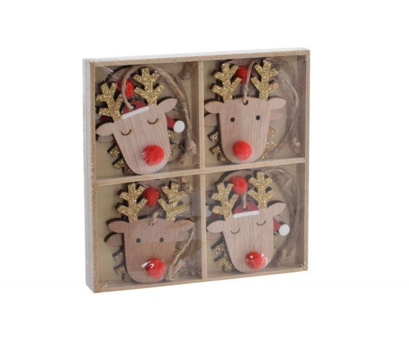 Set 8 visećih ukrasa Reindeer